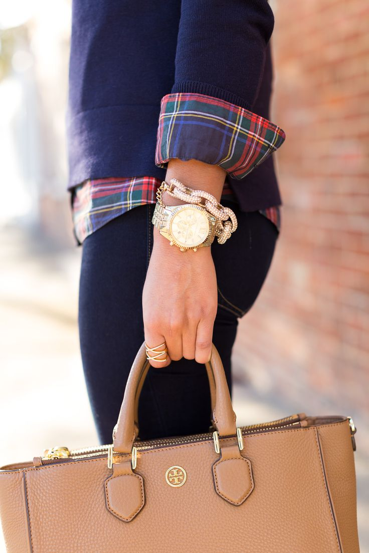 horse sweater, fall style and fashion, fall outfit ideas, tartan plaid, layered fall outfit, tory burch robinson multi tote, brown booties // grace wainwright from a southern drawl