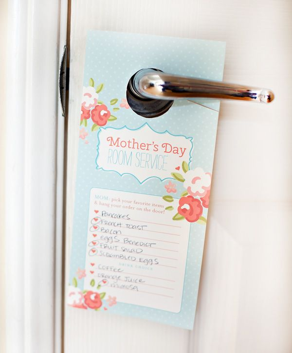 Cool free printable for Mother's Day: A room service door hanger menu. Take her order the night before. (Hopefully she doesn't pick the Eggs Benedict.)