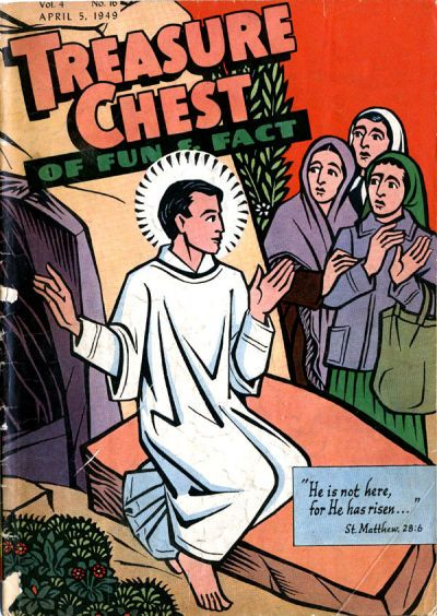 "Marie Adélaïde ""Ade"" de Bethune (January 12, 1914 – May 1, 2002) was a Catholic liturgical artist and activist who contributed covers and comics work to the Catholic children's comic Treasure Chest of Fun and Fact from 1949 to 1962. Bethune was born Marie Adélaïde Anne Caroline de Bethune, Baroness, to a noble Belgian family. Her parents, Gaston and Marthe (Terlinden, daughter of Viscount Terlinden), emigrated with the family in 1928. She went to Cathedral High School and later,..."