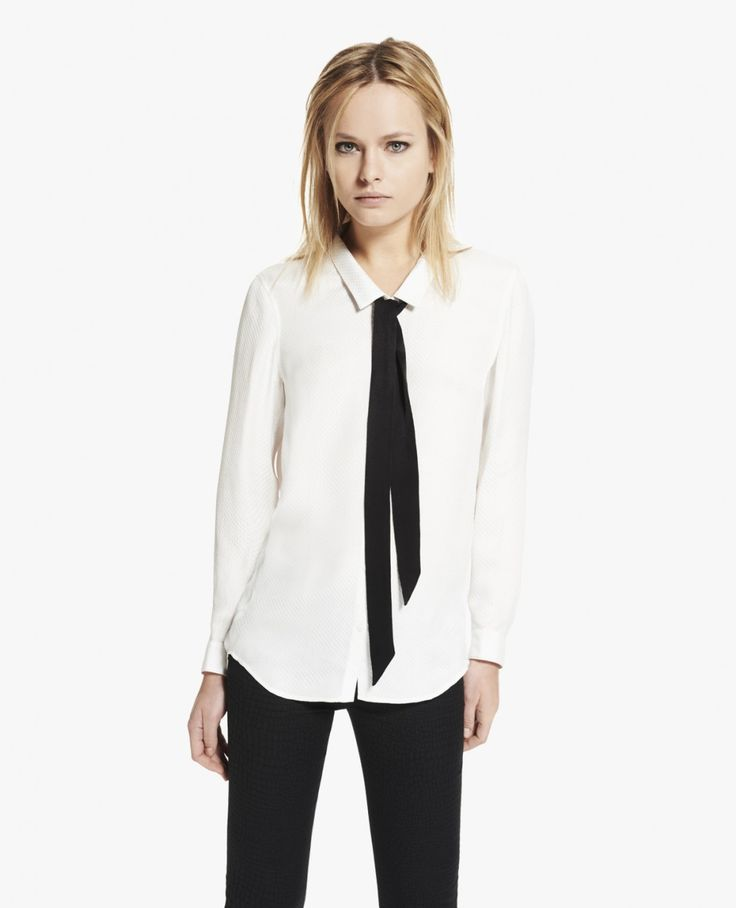 Boyfriend shirt in embossed silk with floppy bow - The Kooples