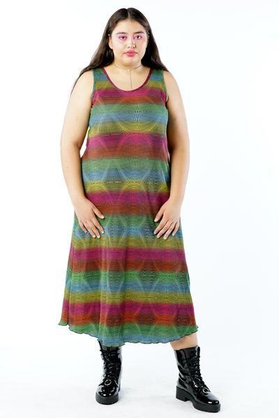 Vintage 90s Rainbow Color Gradient Dress - L/XL/2X      #curvy #plussize #fashion #windbreaker #90s #alternativecurves #plussizemodel #unicorn #unicorntears #camo #camo #pants #style #rainbow #rainbowfashion #colorful