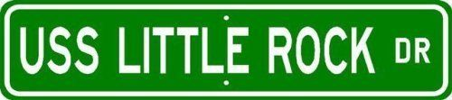 USS LITTLE ROCK CG 4 Street Sign - Navy - 6 x 24 inches by The Lizton Sign Shop. $29.95. Rounded Corners. Aluminum Brand New Sign. 6 x 24 inches. Made in USA. Predrilled for easy hanging. USS LITTLE ROCK CG 4 Street Sign - Navy. Made of Aluminum and High Quality Vinyl Letters and Graphics. This sign is 6 x 24 inches. Made to last for years outdoors, the sign is nice enough to display indoors too, comes with two holes pre-punched for easy installation and the corners are round...