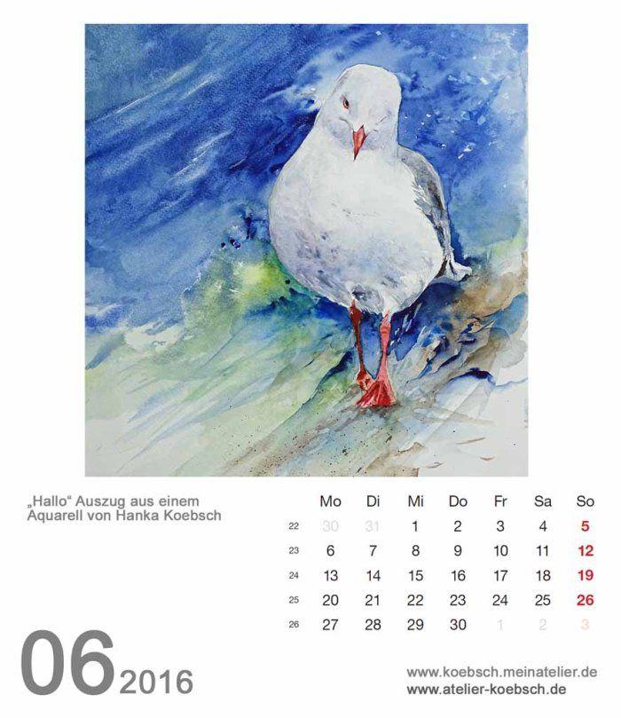 Kalenderblatt Juni 2016 | Bilder, Aquarelle vom Meer & mehr - von Frank Koebsch