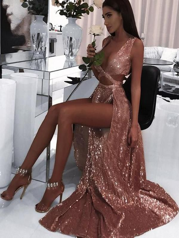2019 Charming Sexy Sequin Sparkly Simple Rose Gold and Black Split Fashion Popular Prom Dresses, Evening dresses, TYP1121