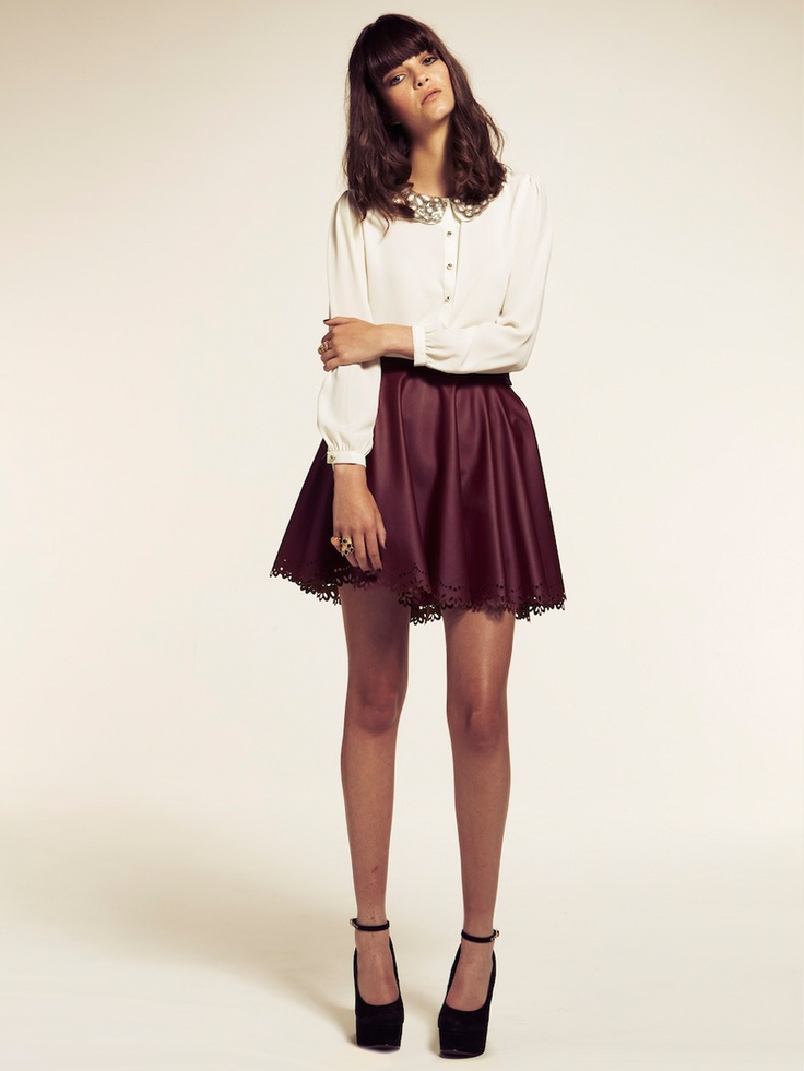 1000 images about burgundy leather skater skirt on