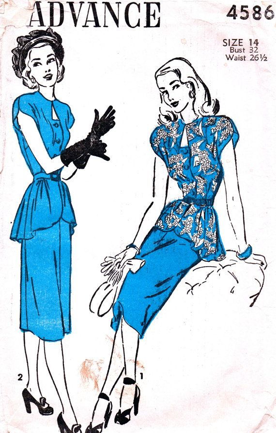 Vintage 1940's Pattern 4586  GORGEOUS Ladies Front by anne8865, $33.60