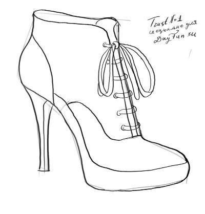 Рисование карандашом для начинающих обувь