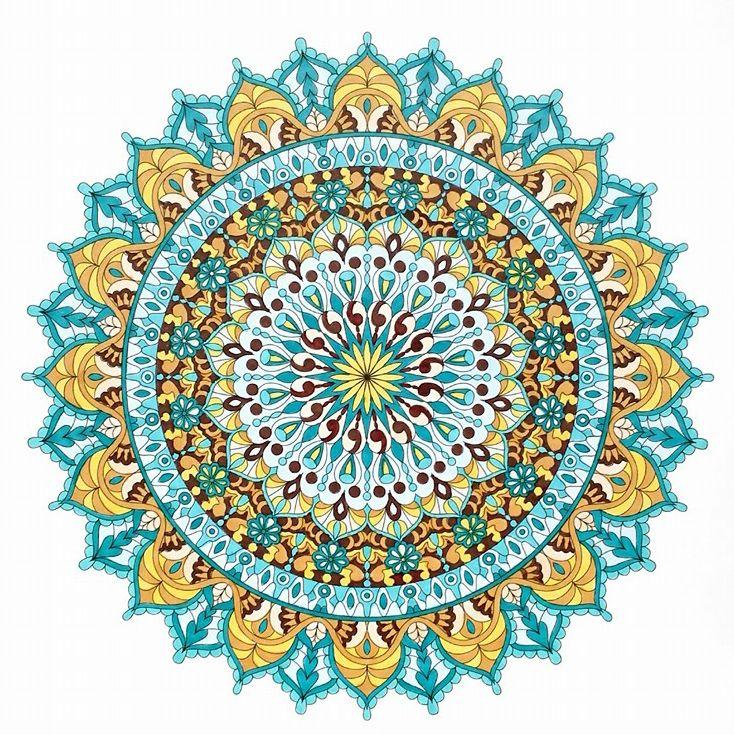 """Warm Soul"" printable mandala coloring page. Colored by Tamila K"