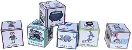 French storytelling dice -- free downloadable in PDF from La Maternelle de Moustache (could be translated into any language)