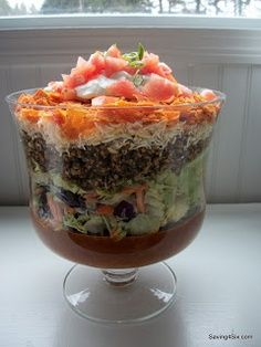 Best Taco Recipes -  Taco salad in a glass bowl.  See more taco recipes on http://thegardeningcook.com/best-taco-recipes/