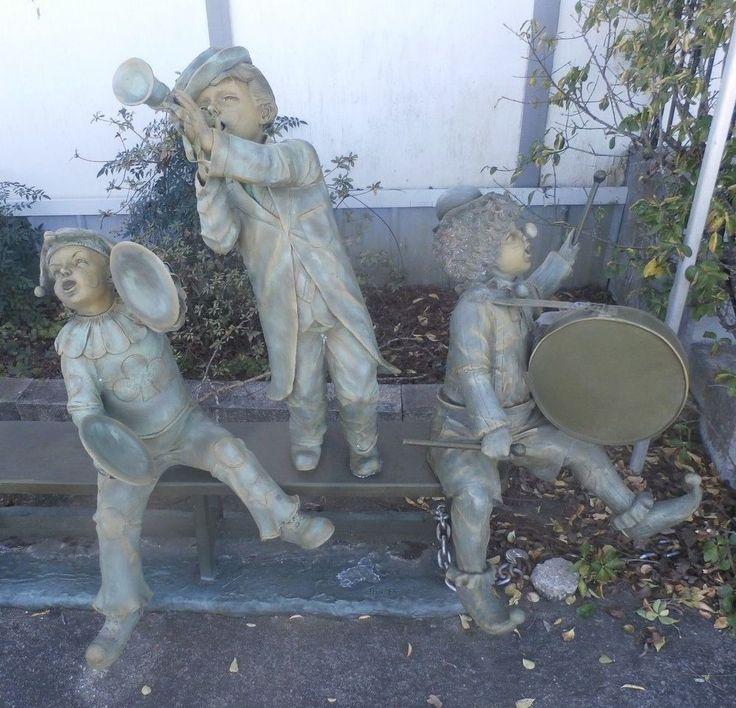 "Cast Bronze Sculpture 3 Kid Clown Musicians on Bench W 76"" x H 53"" Jim Davidson"