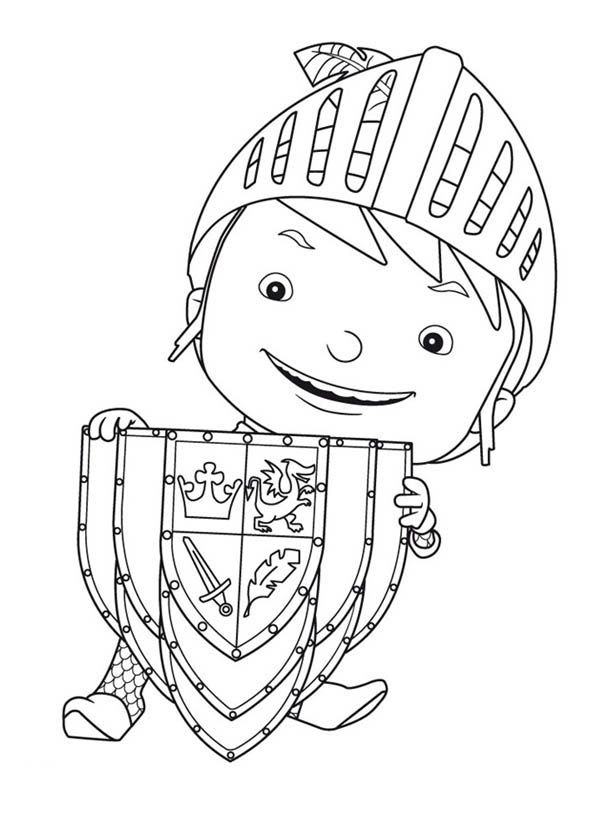 mike the knight with shield coloring pagejpg