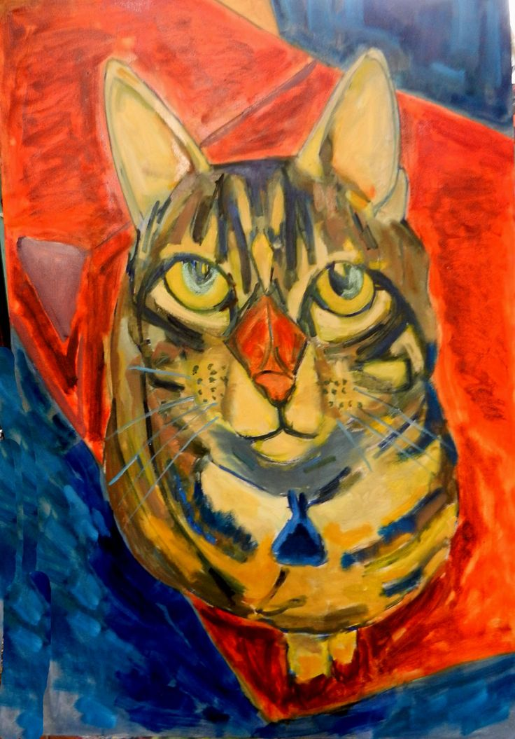 Painting of Rocket (the cat who poses by asking for treats)    2017 oil