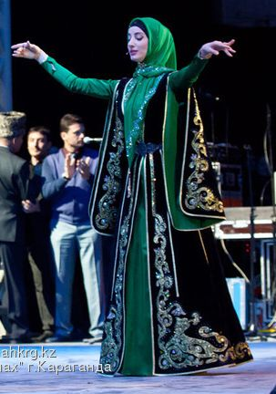 Çeçen / Chechen traditional festive costume.  Clothing style: late 19th century.