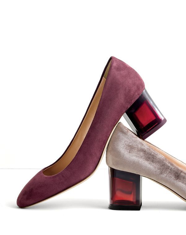 J.Crew Italian gems. Made in Italy, in suede or velvet, with a jewel-toned Lucite heel.