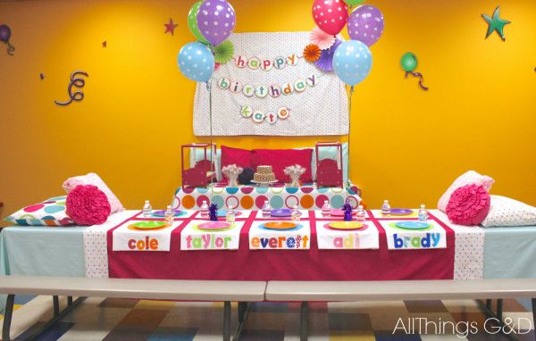 Kate's Polka Dot Pajama Birthday Party - tables dressed as beds. | www.allthingsgd.com