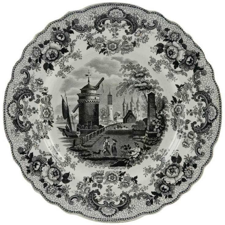 Grisaille Antique English Serving Plate with Landscape Decoration