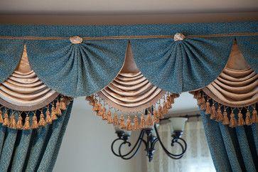 Blue Salon - Designer Swag Valance Curtains - traditional - curtains - seattle - Celuce