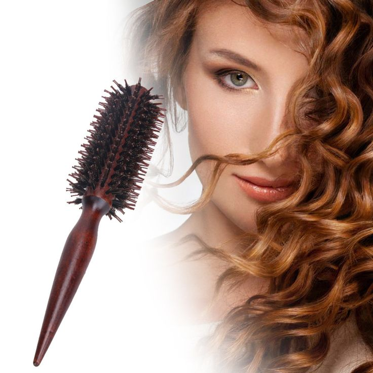 Roll Round Hair Brush Comb Brush Hair Care Tool Wood Handle Natural Bristle Curly Hair Brush Fluffy Comb Hairdressing Barber Too
