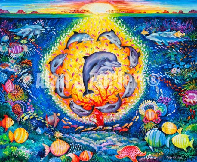#alanjporterart #kompas #art #animals #dolphins #paintings #originals #oil #originaldesign #sunset #sky #fish #sea