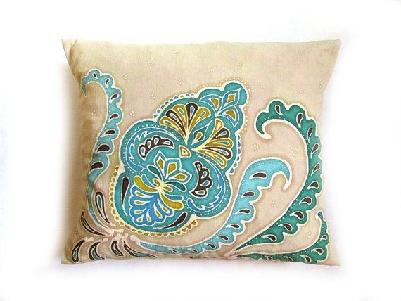 Hand painted batik pillow, Moroccan Sand - Hand dyed batique pillow, Turquoise, light blue, green and beige colors, flor