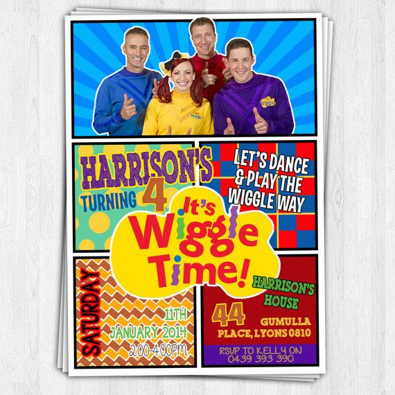 THE NEW WIGGLES Birthday Invitation 2013/14 by EmbellisheDesigns, $10.00
