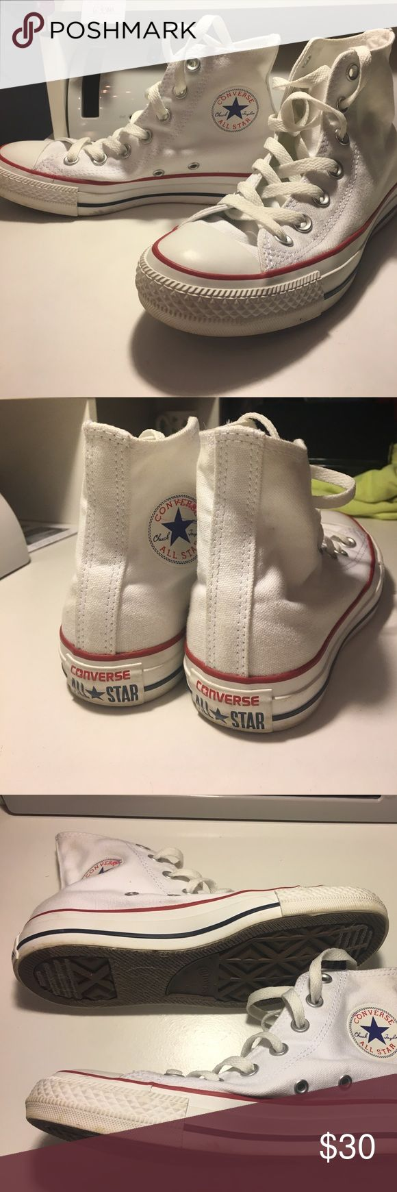 High top Chuck Taylors White high top converse Chuck Taylors! Worn a few times, I wasn't all that crazy about them! I would rather just low tops. These are in great condition just could use a good cleaning. Just some minor scuffs on the toes and some on the putter sole of shoes. Converse Shoes Athletic Shoes