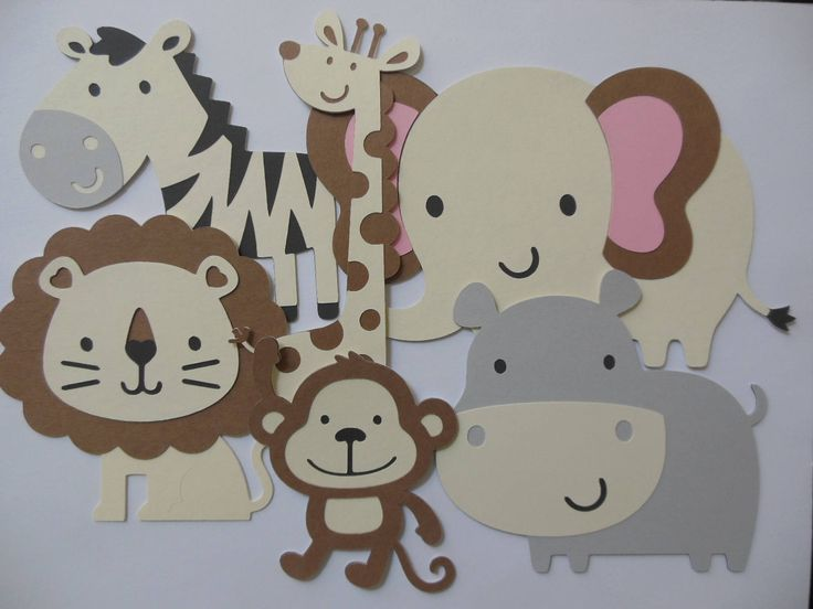 Safari or Zoo Animal Cutouts - Lion, Giraffe, Zebra, Elephant, Hippo and Monkey - Birthday Party Decorations - Baby Shower Decor - Set of 6 by Whimsiesbykaren on Etsy