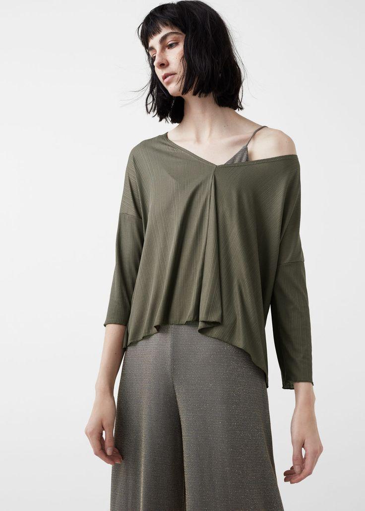 T-shirt fluida textura | MANGO