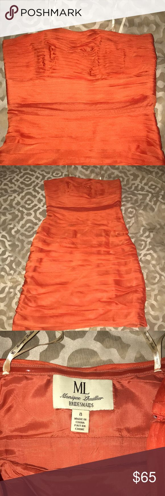 Bridesmaid Dress Super cute barely used knee length bridesmaid dress. Great for spring or summer weddings, or a pop of color during a fancy night out! Monique Lhuillier Bridesmaids Dresses Wedding