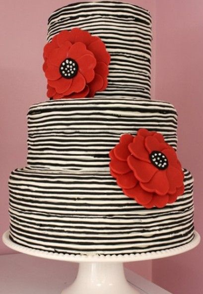 Striped Wedding Decor Black White Striped Wedding Cake