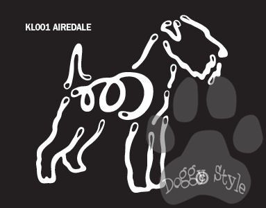 K Line Airedale Window Decal Tattoo $5.99 http://doggystylegifts.com/products/k-line-airedale-window-decal-tattoo