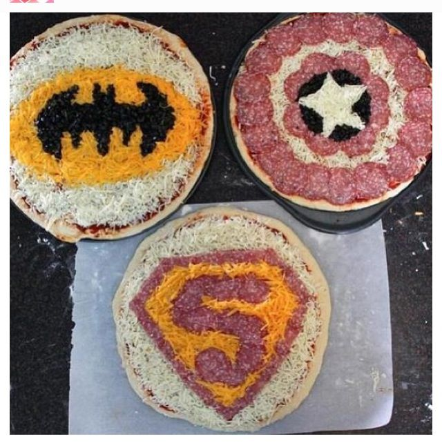 Superhero pizza for @Jody Rieck Rieck Rieck Phillips Hank's party