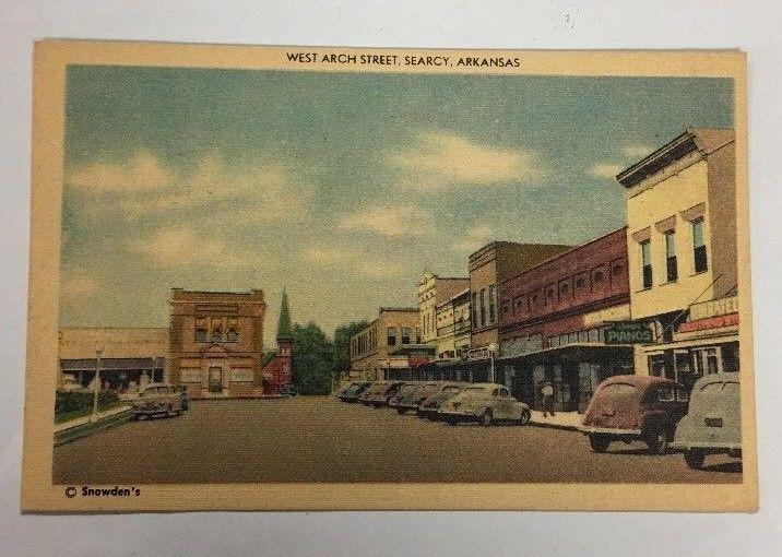 Searcy Arkansas West Arch Street VTG Linen Postcard Free Shipping