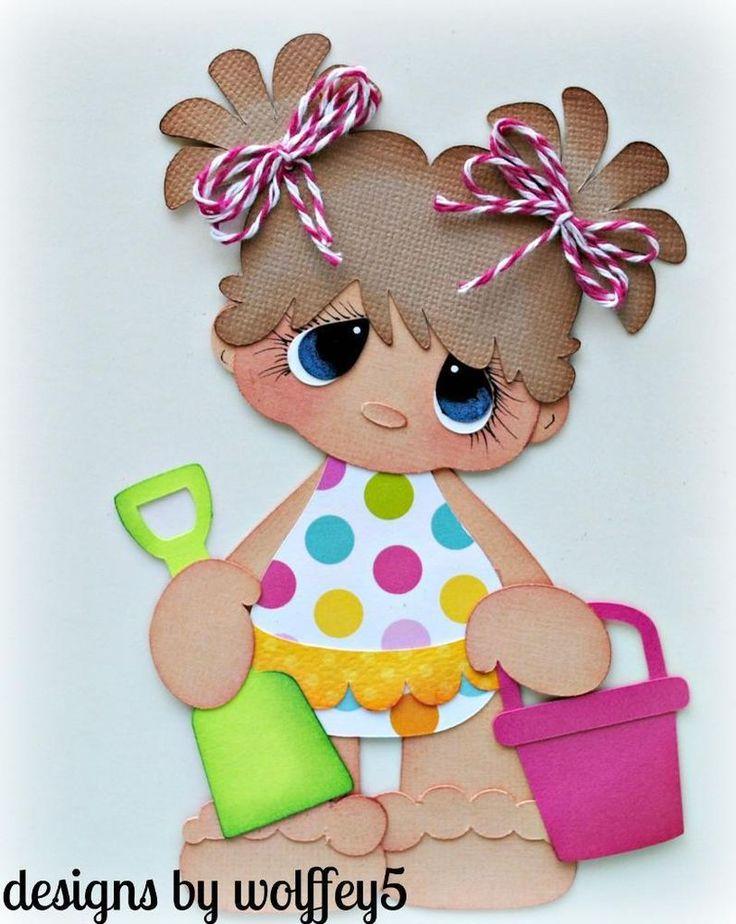 ELITE4U GIRL SUMMER  paper piecing premade scrapbook page die cut  WOLFFEY5