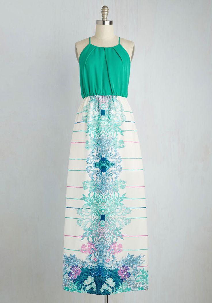 What's So Sunny? Dress - Multi, Green, Print, Daytime Party, A-line, Maxi, Twofer, Sleeveless, Spring, Woven, Better, Long, Racerback