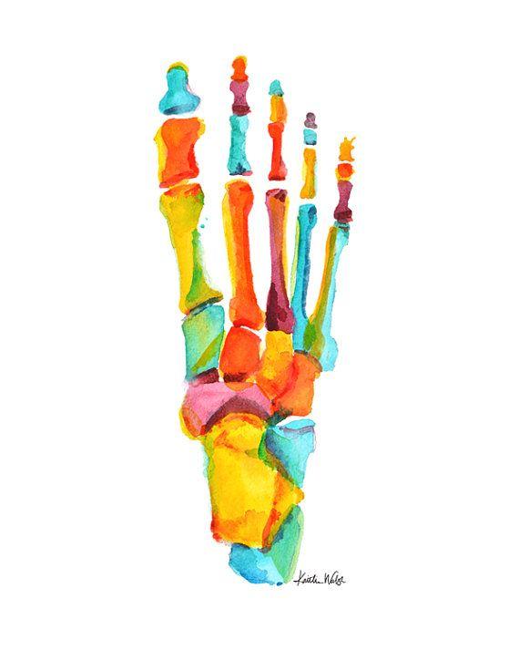 Una hermosa impresión abstracta de una acuarela original anatómica que representa los huesos de los pies, usando una paleta de colores amarillo, naranja y teal vibrante.  Nombre: Los brillantes huesos del pie  PAPEL y tinta: la impresión vendrá en algodón 100% trapo 300gsm papel mate. Este hermoso Museo de calidad papel es libre de ácido y diseñados para una salida de alta resolución y alto contraste. Todas las impresiones se imprimen en un p800 Epson con tintas de pigmento Epson…