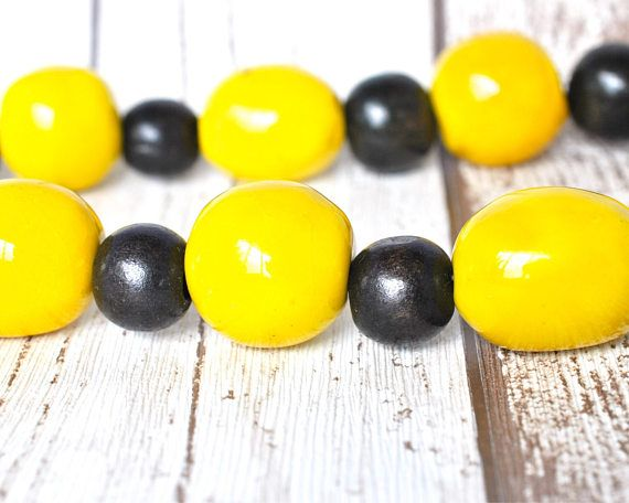 Yellow Bead Kazuri Necklace - Black and Yellow Statement Necklace - Kazuri Bead Yellow Necklace - Bold Necklace - Black Necklace - Bumblebee thecoastaldesert the coastal desert handmade jewelry jewellery African