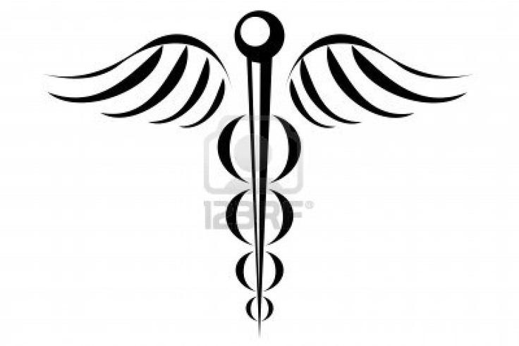 Caduceus medical symbol tribal tattoo