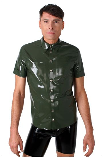 Slim fit latex shirt with short sleeves by Blackstyle