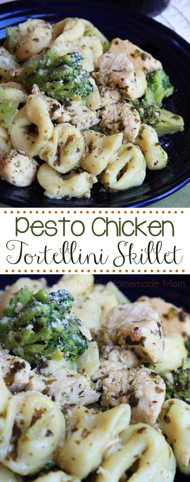 Pesto Chicken Tortellini Skillet - Chicken, cheese tortellini, and broccoli sauteed in a lemony pesto sauce - the perfect weeknight dinner!
