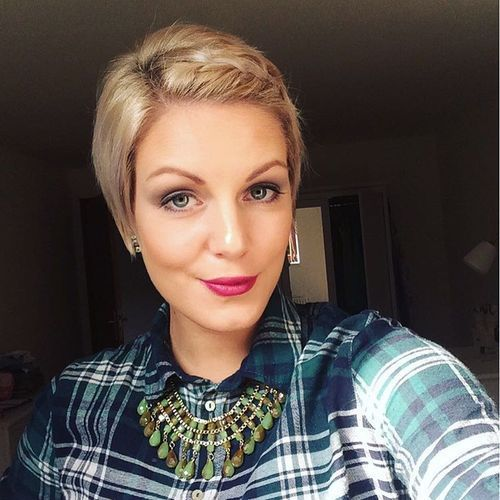 long pixie hairstyle with braided bangs