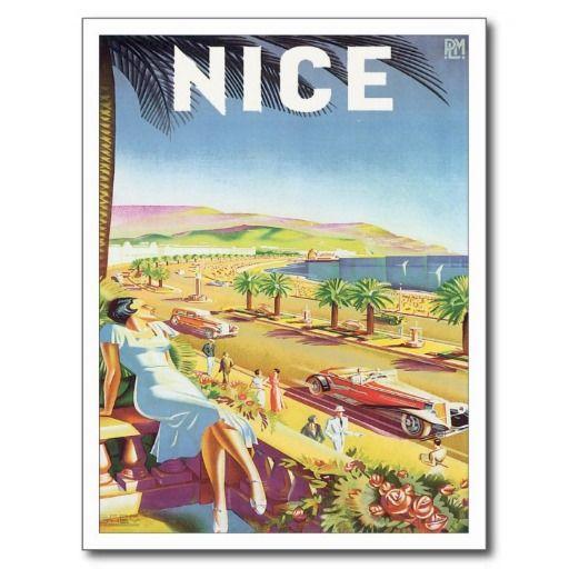 Vintage Nice France Travel Poster Art Postcards