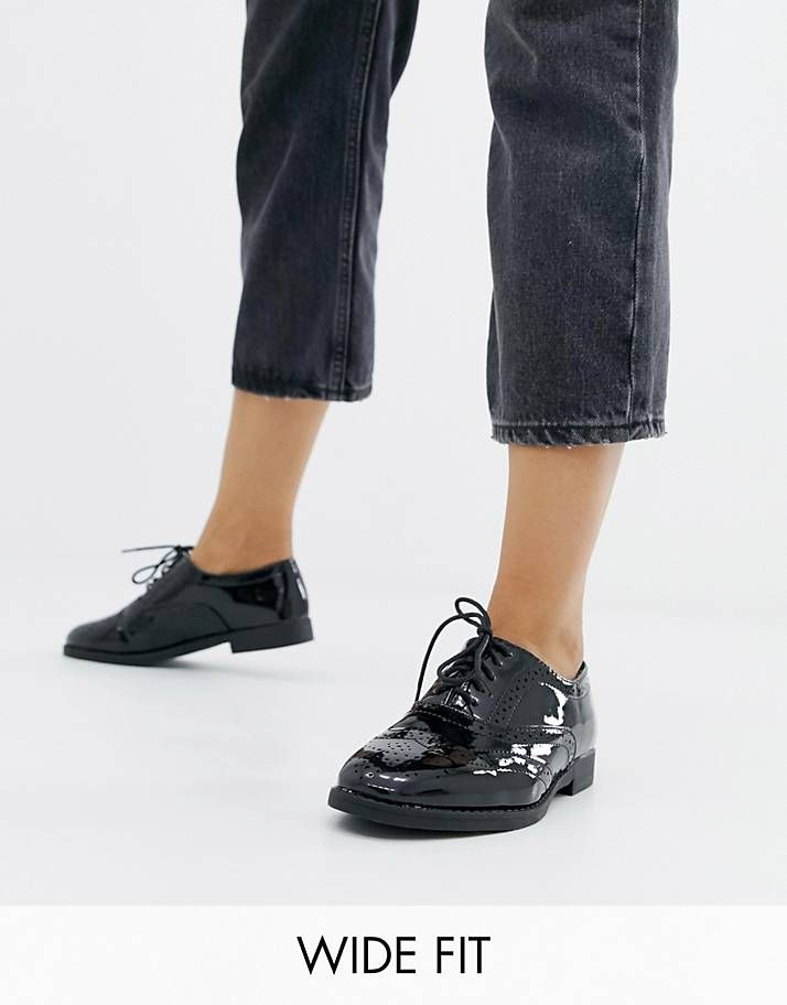 New Look Wide Fit patent lace up brogue