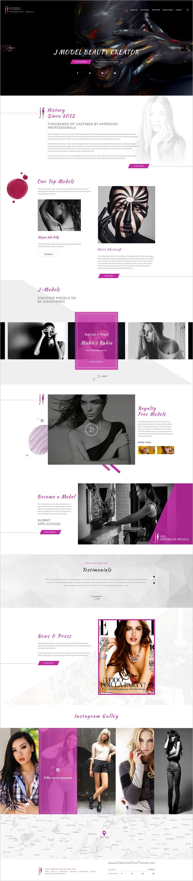 Modal Management #Agency is a clean and modern design #PSD template for #Actors and #models hiring agencies website with 4 unique homepage layouts and 17 organized PSD pages download now➩ https://themeforest.net/item/modal-management-agency/18545541?ref=Datasata