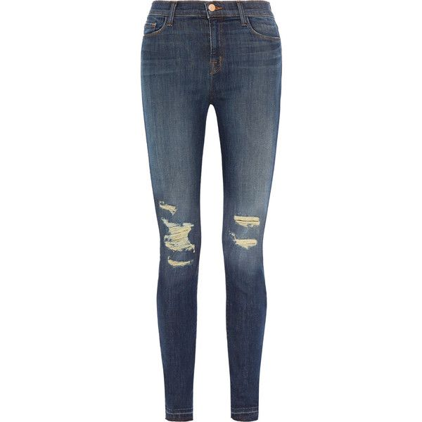 J Brand Maria distressed high-rise skinny jeans (€125) ❤ liked on Polyvore featuring jeans, pants, storm blue, destroyed skinny jeans, high-waisted jeans, blue jeans, high waisted jeans and blue skinny jeans