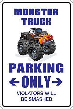 "Monster Truck Parking Only 8"" x 12"" Metal Novelty Sign Aluminum NS 097"