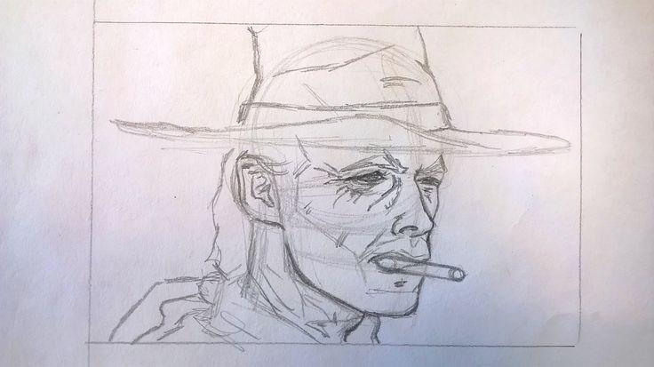 Caricatura di Clint Eastwood, matita - Drawing of Clint Eastwood, pencil Work in progress
