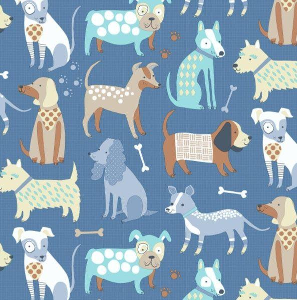 Stoff Tiermotive - Baumwollstoff Meterware blaue Hunde - ein Designerstück von Sonni-Mami bei DaWanda