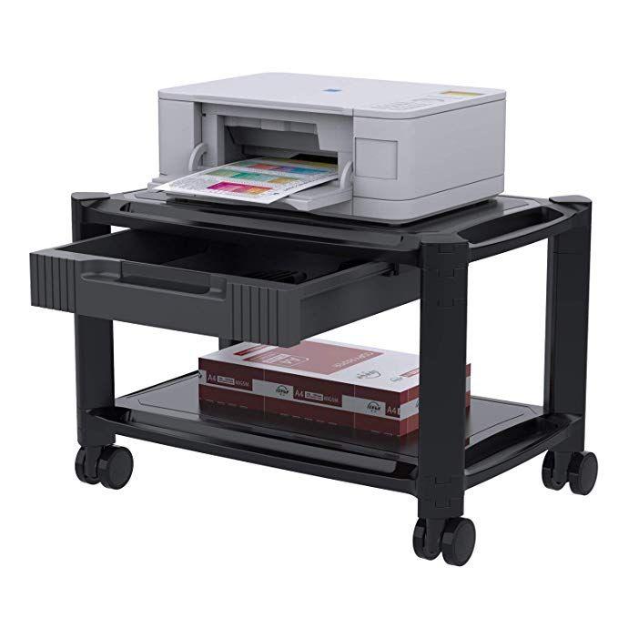 Printer Stand Under Desk Printer Cart With 4 Rolling Wheels Storage Drawer Durable Printer Riser Shelf For Fax Scanner Printer Stand Storage Drawers Desk